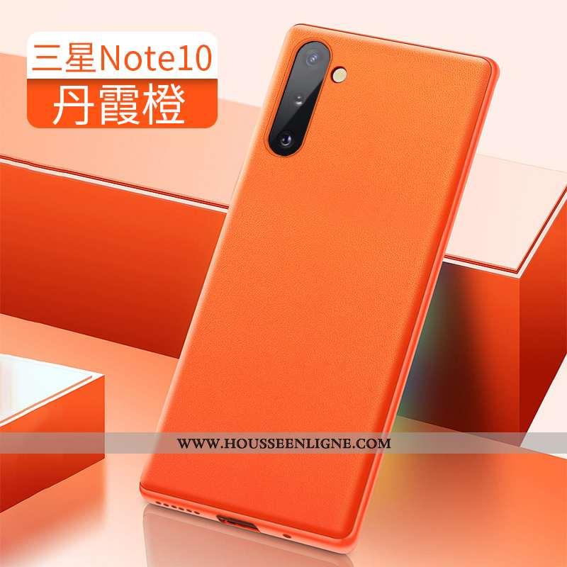Coque Samsung Galaxy Note 10 Cuir Luxe Téléphone Portable Tout Compris Incassable Étoile Orange