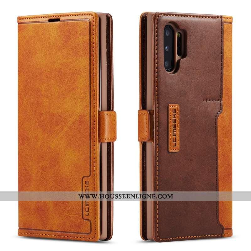 Coque Samsung Galaxy Note 10+ Cuir Véritable Étoile Tout Compris Étui Simple Membrane Marron
