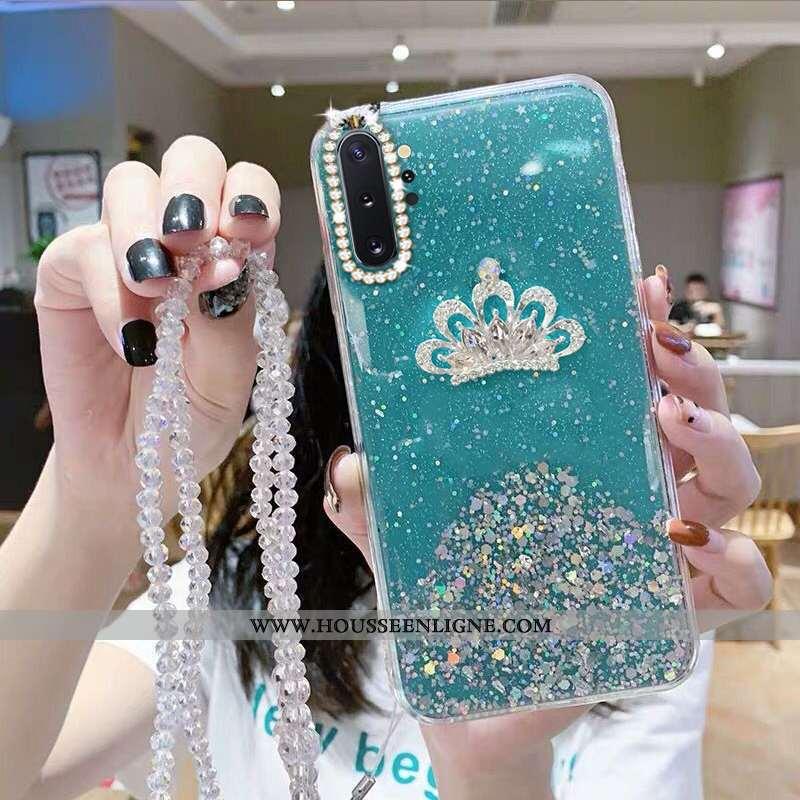Coque Samsung Galaxy Note 10+ Fluide Doux Protection Étui Étoile Strass Bleu Cristal