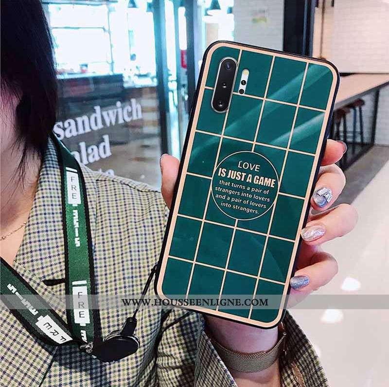 Coque Samsung Galaxy Note 10+ Fluide Doux Silicone Vent Créatif Miroir Plaid Verte