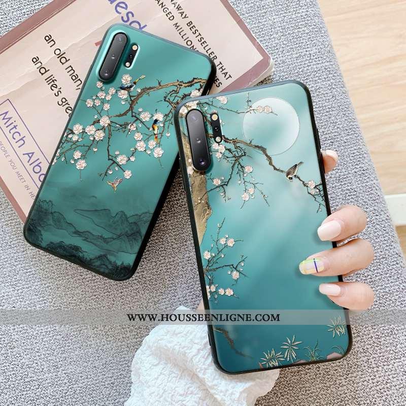 Coque Samsung Galaxy Note 10+ Gaufrage Tendance Dimensionnel Tout Compris Protection Silicone Verte