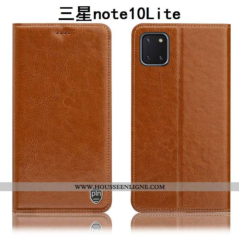 Coque Samsung Galaxy Note 10 Lite Cuir Véritable Modèle Fleurie Étui Kaki Tout Compris Housse Incass