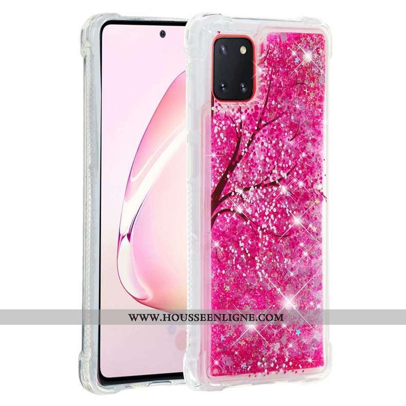 Coque Samsung Galaxy Note 10 Lite Fluide Doux Rose Étui Rouge Étoile Téléphone Portable