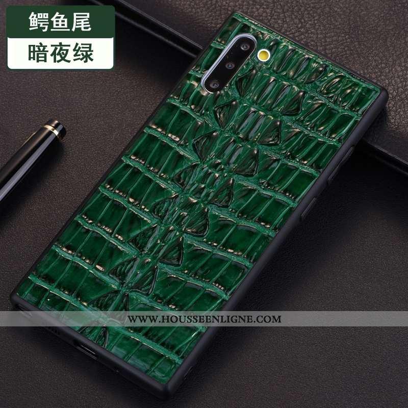 Coque Samsung Galaxy Note 10 Modèle Fleurie Protection Étui Étoile Vert Crocodile Verte