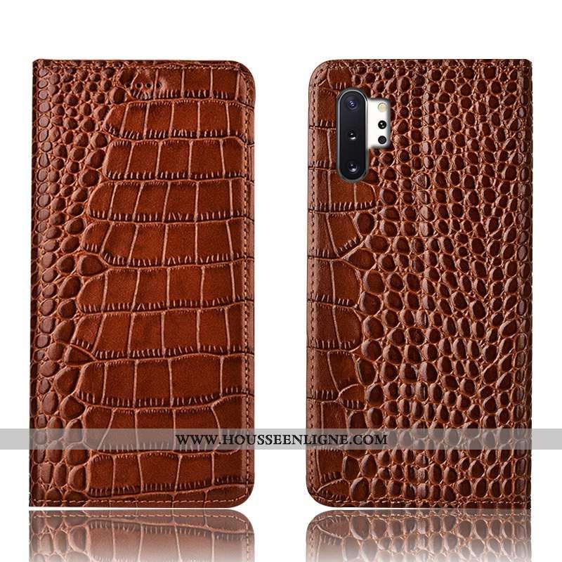 Coque Samsung Galaxy Note 10+ Protection Cuir Véritable Téléphone Portable Crocodile Tout Compris Ma