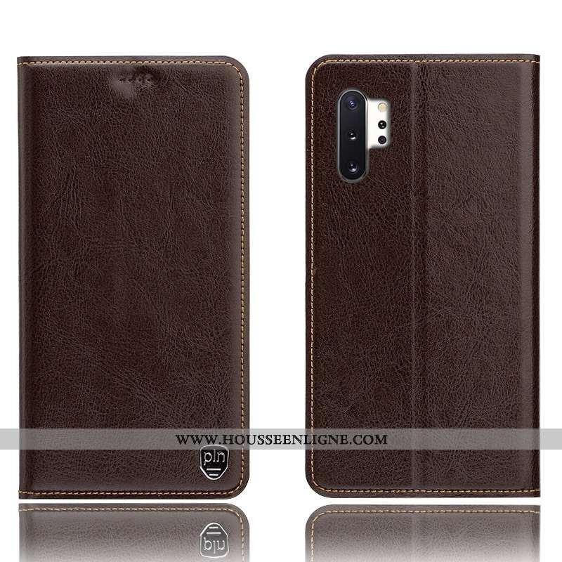 Coque Samsung Galaxy Note 10+ Protection Cuir Véritable Tout Compris Téléphone Portable Marron Étoil