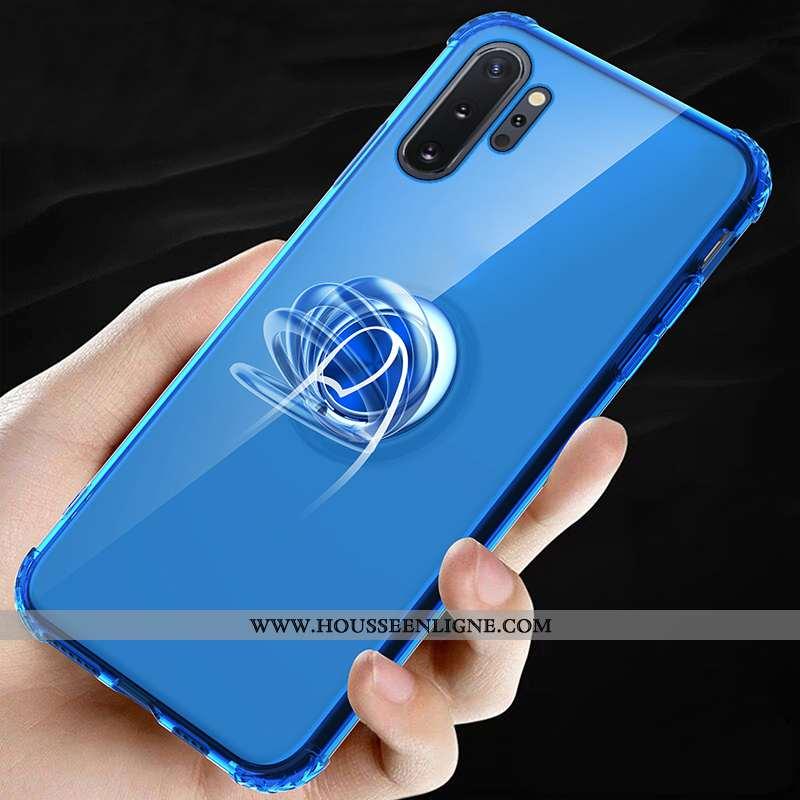 Coque Samsung Galaxy Note 10+ Protection Fluide Doux Étui Incassable Invisible Support Bleu