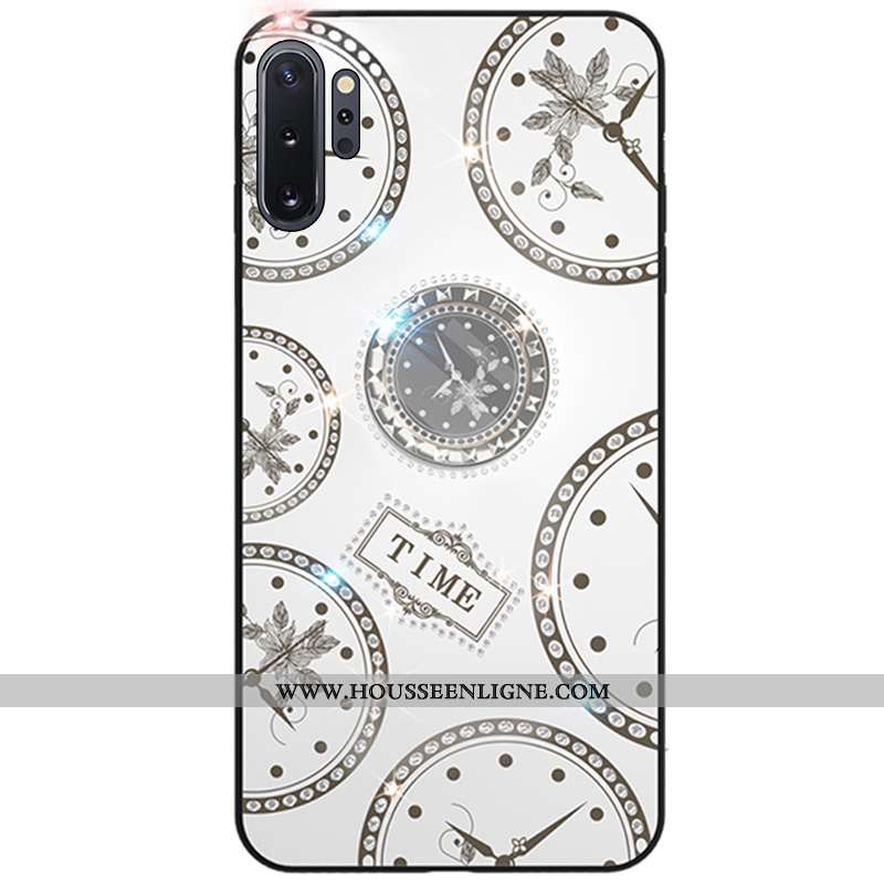 Coque Samsung Galaxy Note 10+ Protection Strass Fluide Doux Créatif Support Blanc Blanche