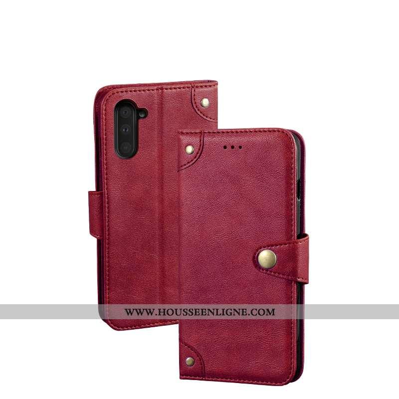 Coque Samsung Galaxy Note 10 Protection Vintage Étoile Vin Rouge Étui Portefeuille Cuir Bordeaux