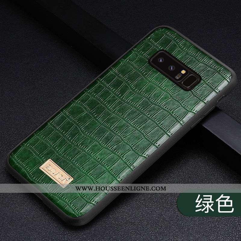 Coque Samsung Galaxy Note 8 Cuir Véritable Tendance Vert Créatif Business Nouveau Verte