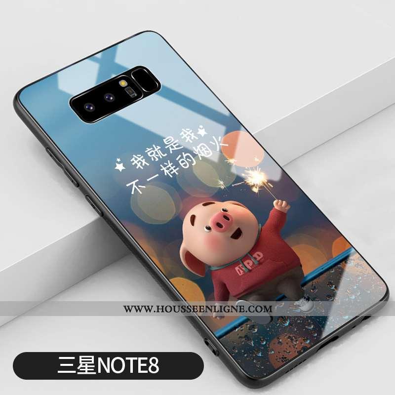 Coque Samsung Galaxy Note 8 Verre Personnalité Bleu Incassable Amoureux Étui