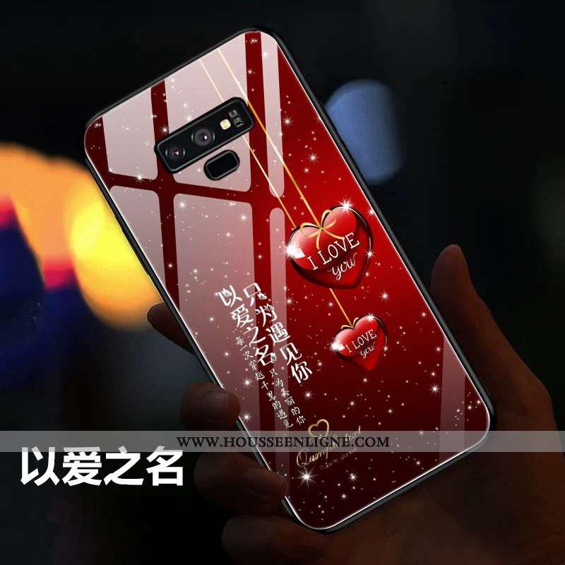 Coque Samsung Galaxy Note 9 Protection Verre Vent Personnalité Téléphone Portable Étoile Étui Rouge