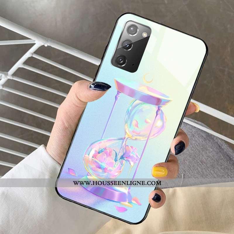 Coque Samsung Galaxy Note20 Dessin Animé Protection Verre Frais Rêver Modèle Bleu