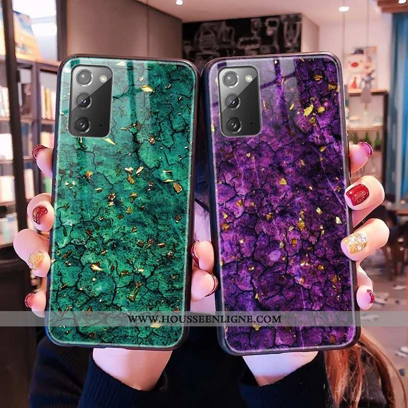 Coque Samsung Galaxy Note20 Modèle Fleurie Verre Vert Téléphone Portable Étoile Léopard Verte