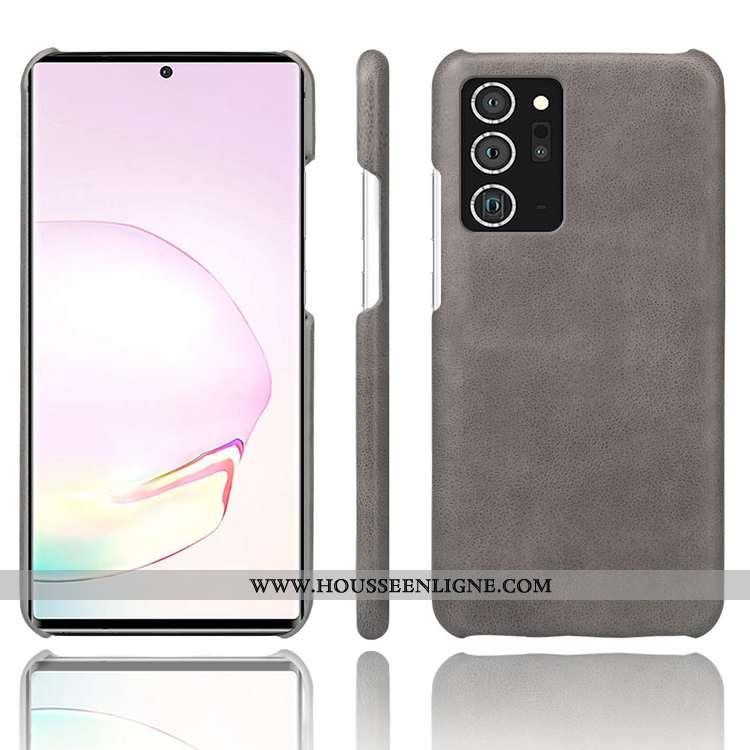 Coque Samsung Galaxy Note20 Ultra Créatif Cuir Incassable Personnalité Téléphone Portable Étoile Gri