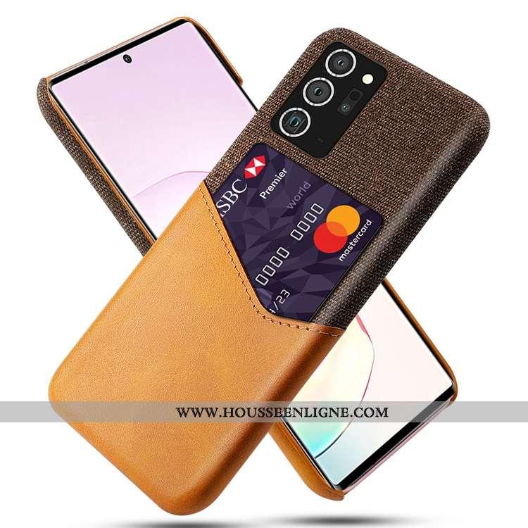 Coque Samsung Galaxy Note20 Ultra Délavé En Daim Carte Jaune Téléphone Portable Incassable Étoile