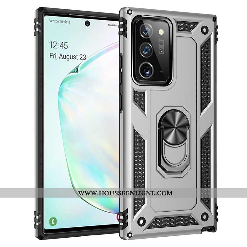 Coque Samsung Galaxy Note20 Ultra Fluide Doux Protection Téléphone Portable Gris Trois Défenses Magn