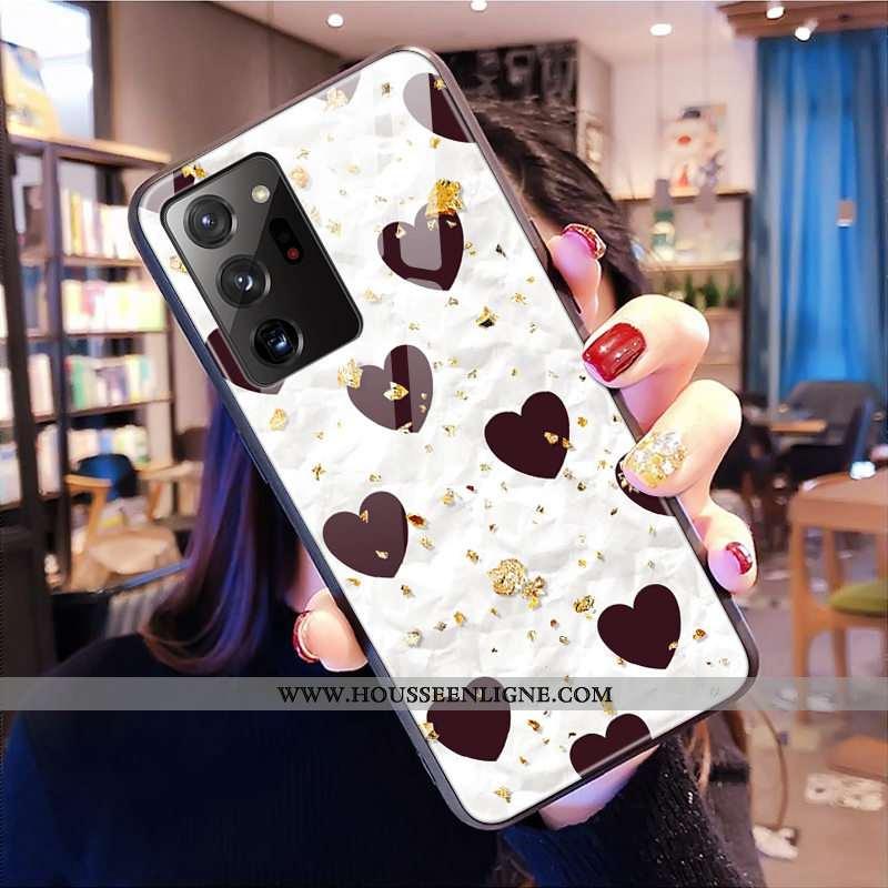 Coque Samsung Galaxy Note20 Ultra Mode Verre Léopard Étoile Téléphone Portable Étui Blanche