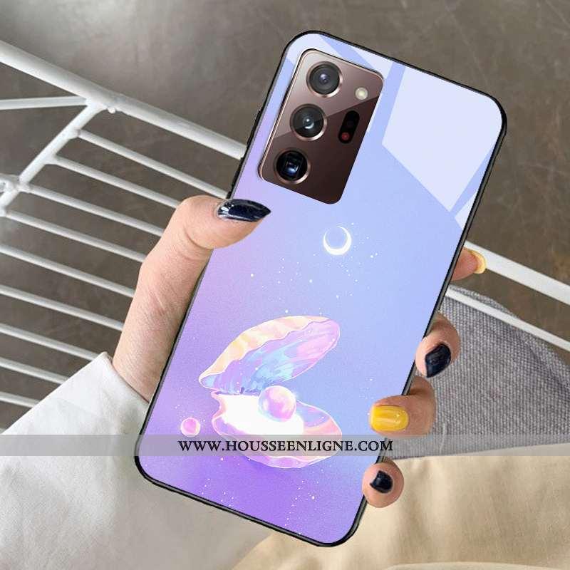 Coque Samsung Galaxy Note20 Ultra Verre Dessin Animé Rêver Modèle Protection Téléphone Portable Viol