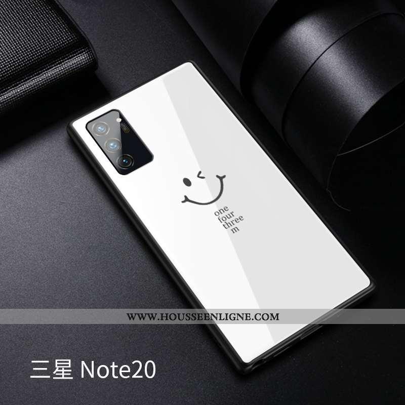 Coque Samsung Galaxy Note20 Verre Personnalité Tempérer Amoureux Blanc Étui Blanche