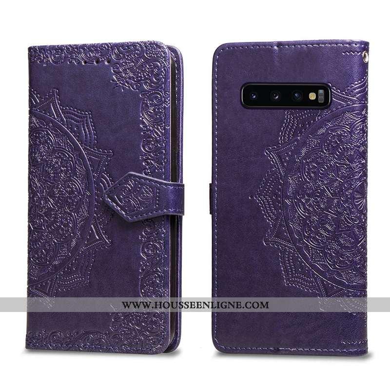 Coque Samsung Galaxy S10+ Cuir Violet Téléphone Portable Étui Étoile Housse