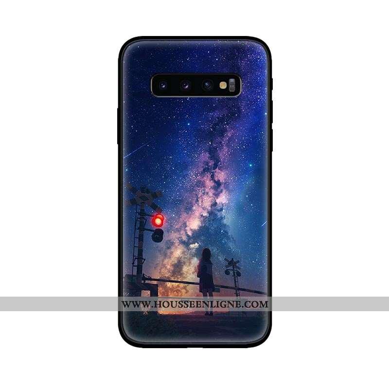 Coque Samsung Galaxy S10 Délavé En Daim Tendance Bleu Marin Amoureux Fluide Doux Étoile Téléphone Po