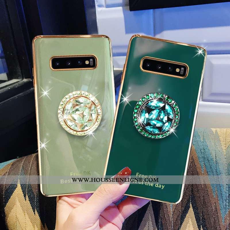 Coque Samsung Galaxy S10+ Fluide Doux Protection Vert Luxe Luxe Téléphone Portable Étoile Verte