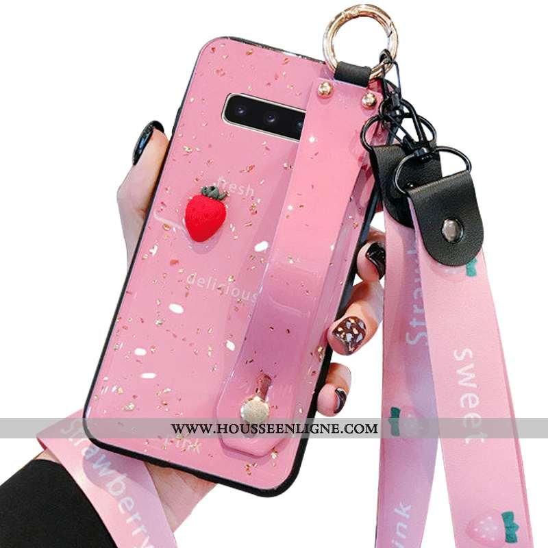 Coque Samsung Galaxy S10+ Fluide Doux Silicone Bovins Cœur Créatif Simple Protection Rose