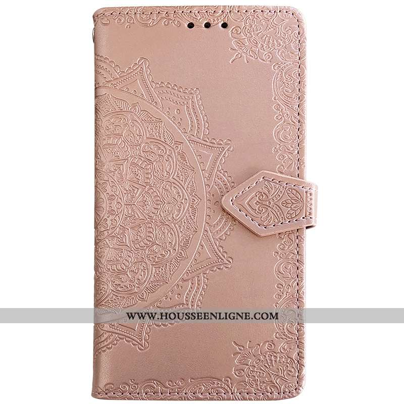 Coque Samsung Galaxy S10 Gaufrage Cuir Protection Net Rouge Mode Étui Rose