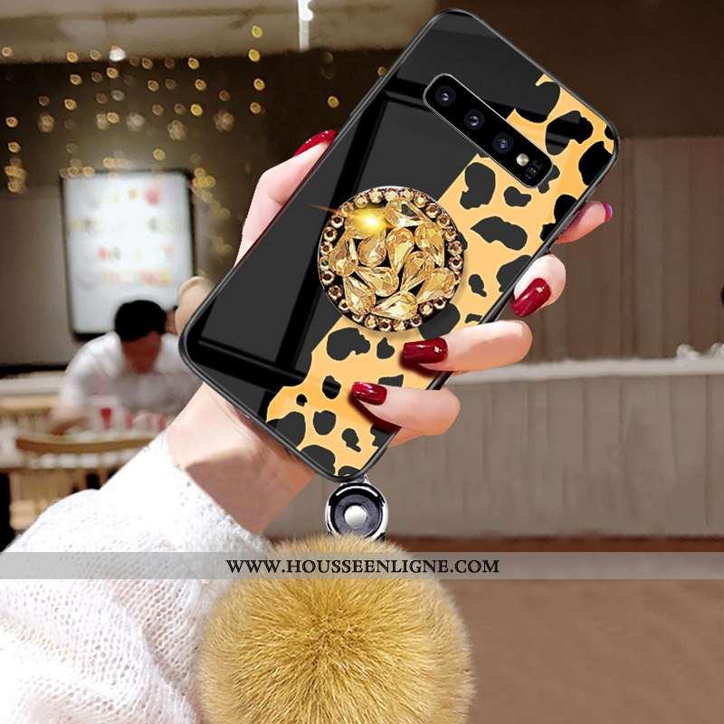 Coque Samsung Galaxy S10 Incruster Strass Modèle Fleurie Peluche Fluide Doux Téléphone Portable Pomp