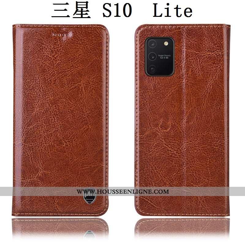 Coque Samsung Galaxy S10 Lite Cuir Véritable Cuir Étoile Téléphone Portable Étui Housse Marron