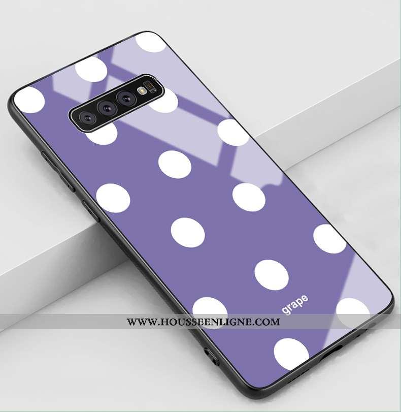 Coque Samsung Galaxy S10+ Mode Protection Verre Amoureux Étui Tout Compris Incassable Violet