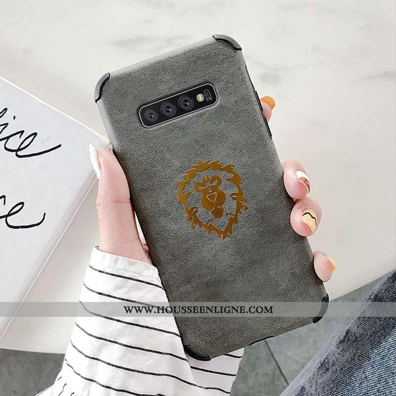 Coque Samsung Galaxy S10+ Personnalité Créatif Mode Cuir Silicone Gris
