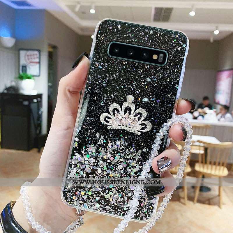 Coque Samsung Galaxy S10+ Personnalité Tendance Étui Noir Protection Téléphone Portable