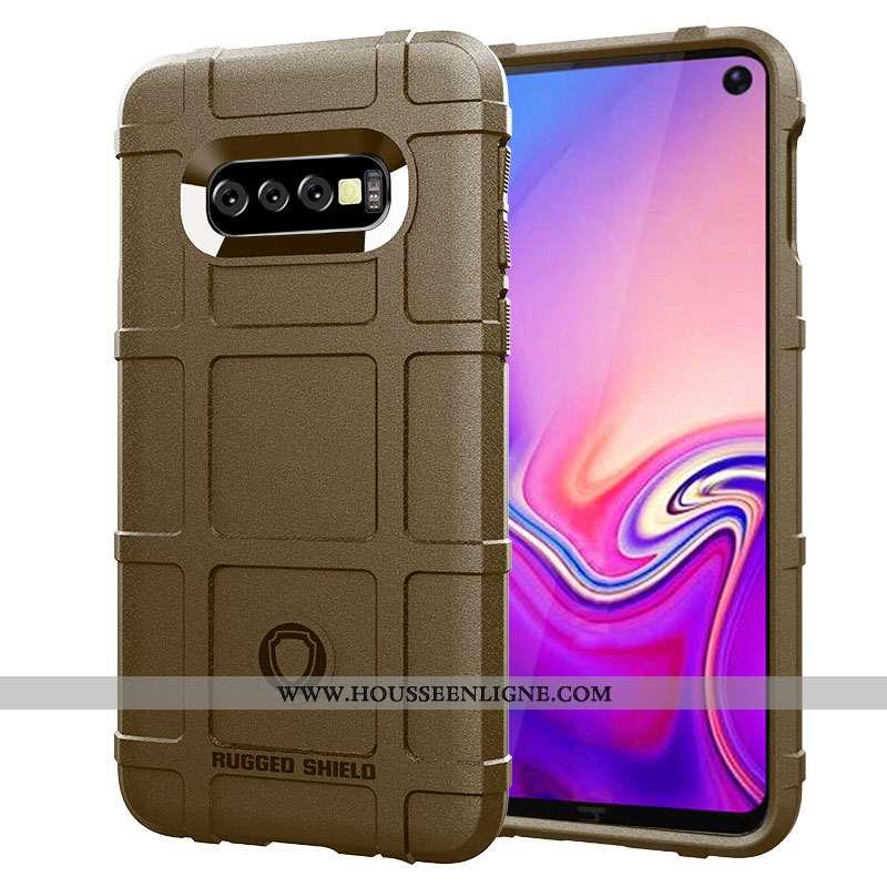 Coque Samsung Galaxy S10+ Protection Délavé En Daim Créatif Étui Marron Téléphone Portable Étoile