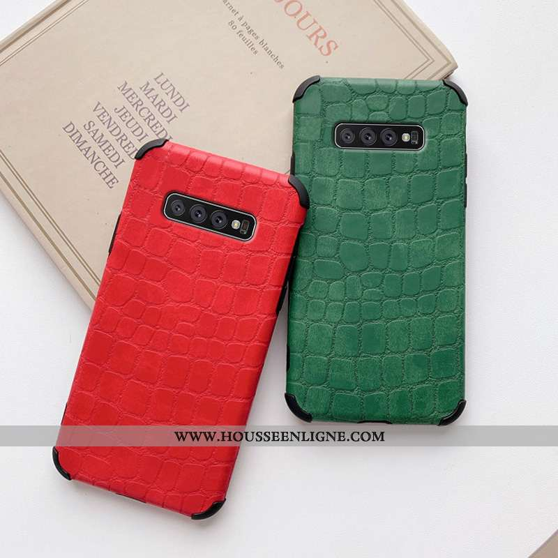 Coque Samsung Galaxy S10+ Protection Personnalité Crocodile Téléphone Portable Cuir Créatif Amoureux