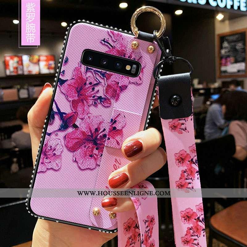 Coque Samsung Galaxy S10+ Protection Tendance Téléphone Portable Rose Fluide Doux Incassable Étui