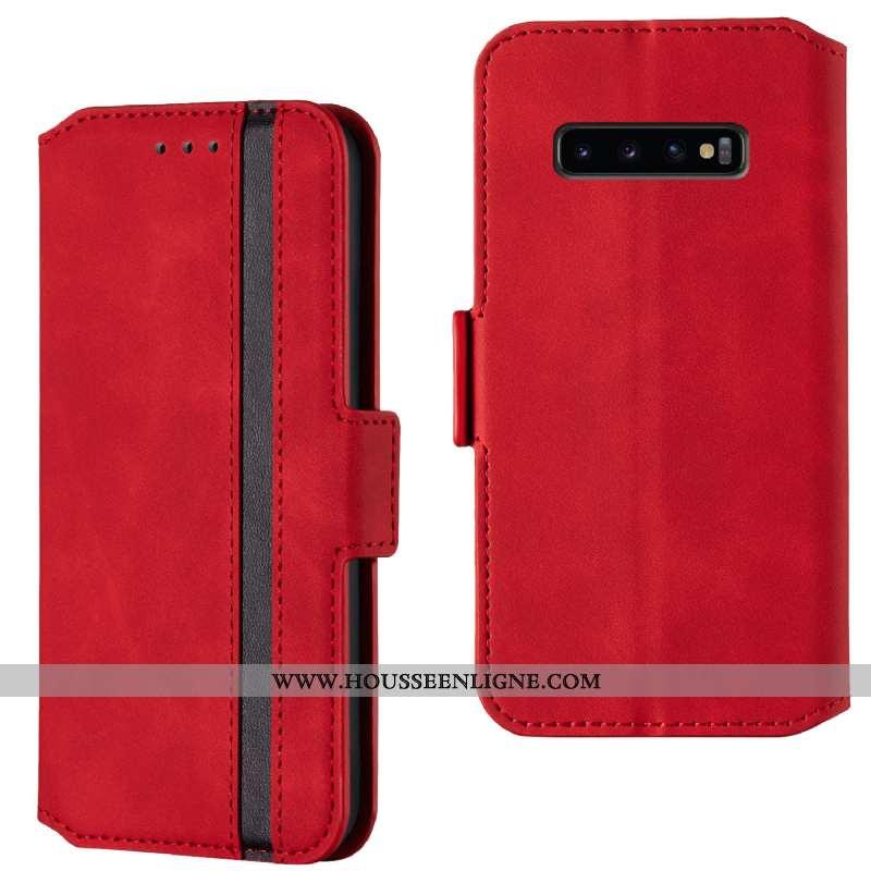 Coque Samsung Galaxy S10 Tendance Cuir Clamshell Incassable Étui Étoile Rouge