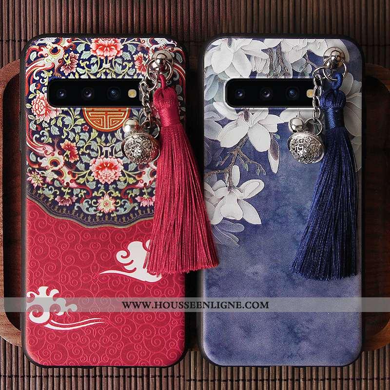 Coque Samsung Galaxy S10 Tendance Personnalité Téléphone Portable Tout Compris Style Chinois Rouge