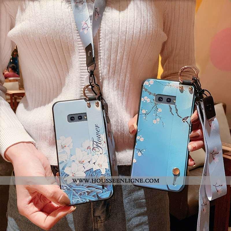 Coque Samsung Galaxy S10e Gaufrage Cou Suspendu Luxe Fluide Doux Tout Compris Étui Silicone Bleu