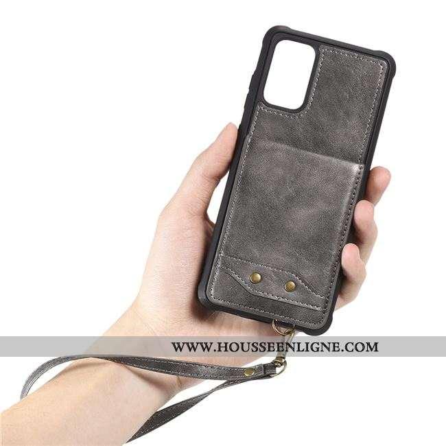 Coque Samsung Galaxy S20 Créatif Cuir Étoile Gris Sac Carte Étui
