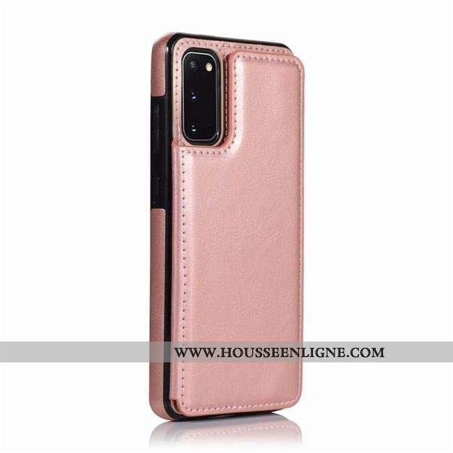 Coque Samsung Galaxy S20 Cuir Créatif Rose Étui Téléphone Portable Carte