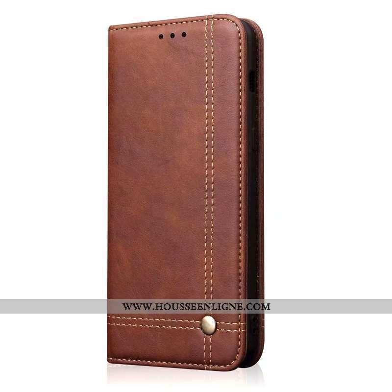 Coque Samsung Galaxy S20 Cuir Protection Téléphone Portable Business Étoile Étui Marron
