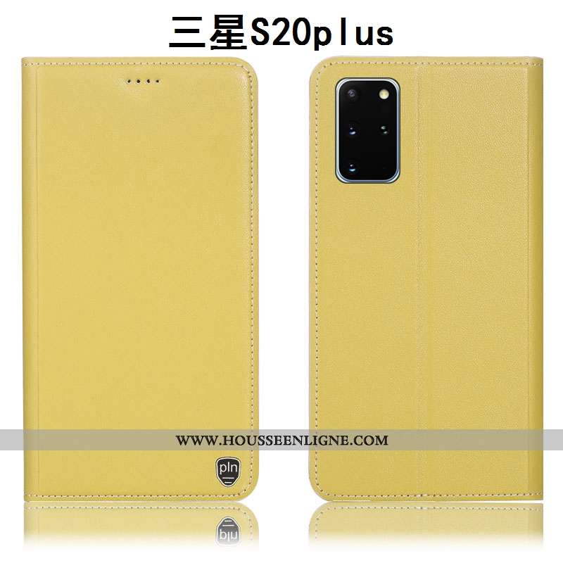 Coque Samsung Galaxy S20+ Cuir Véritable Protection Incassable Étui Tout Compris Étoile Jaune