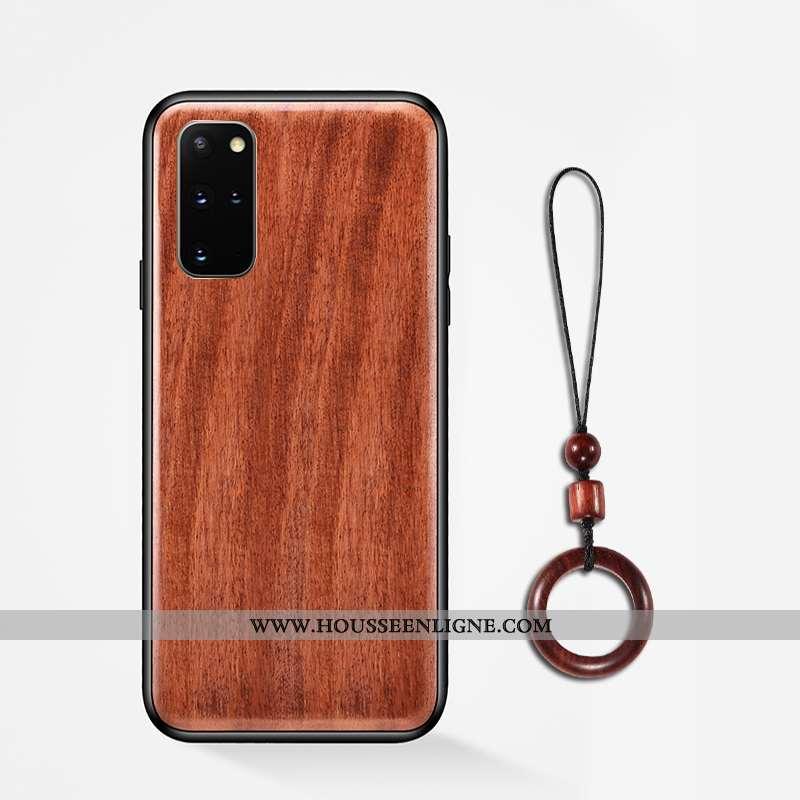 Coque Samsung Galaxy S20+ En Bois Modèle Fleurie Antidérapant Téléphone Portable Incassable Étui Ann