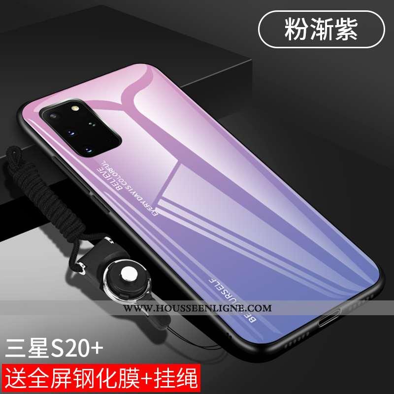 Coque Samsung Galaxy S20+ Fluide Doux Silicone Téléphone Portable Étui Verre Pu Luxe Violet