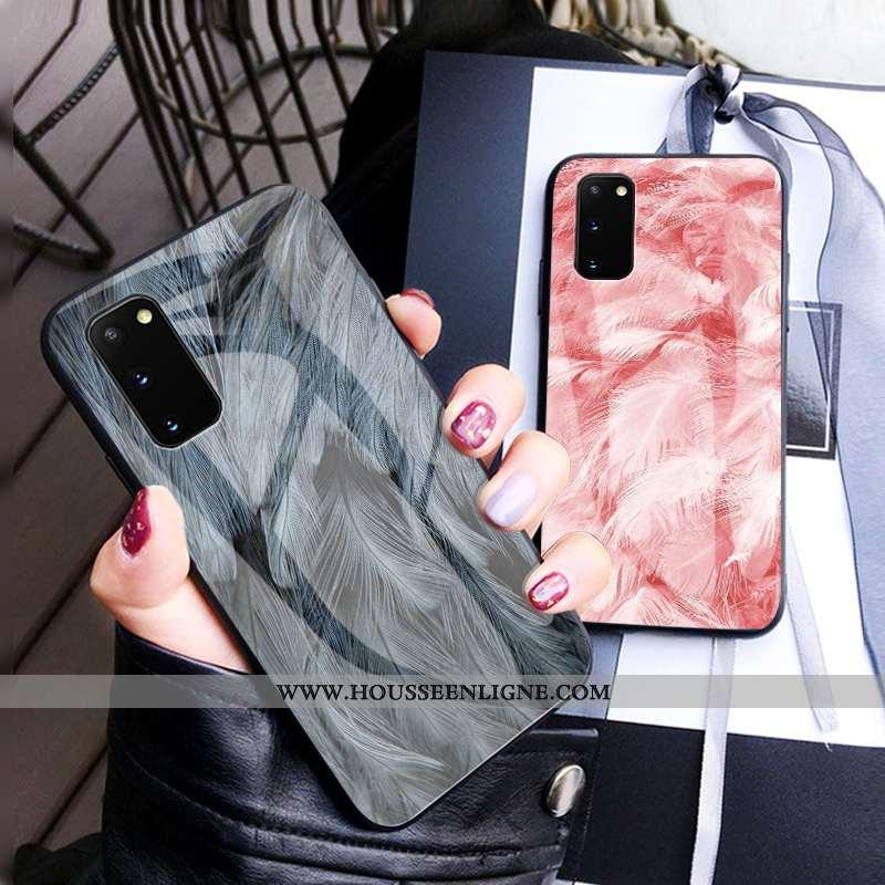 Coque Samsung Galaxy S20 Luxe Verre Luxe Plume Tout Compris Incassable Étui Gris