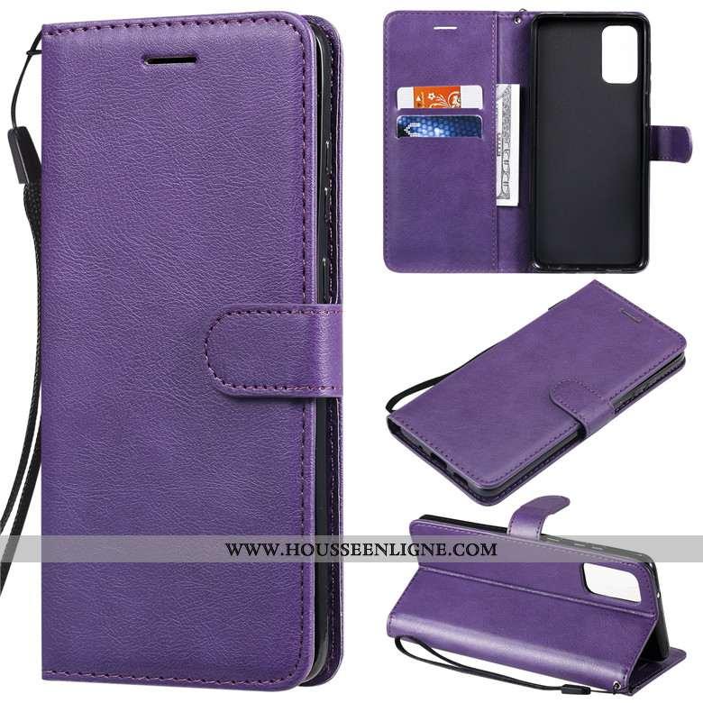 Coque Samsung Galaxy S20 Protection Cuir Housse Violet Étui Téléphone Portable