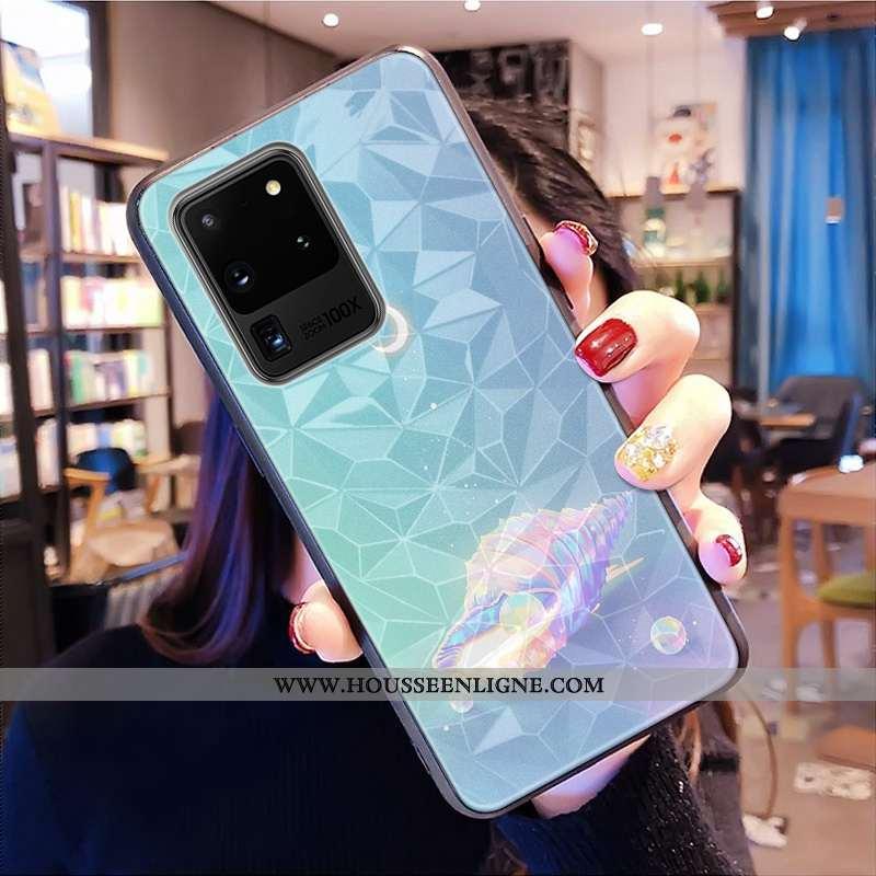 Coque Samsung Galaxy S20 Ultra Modèle Fleurie Tout Compris Net Rouge Téléphone Portable Étoile Bleu