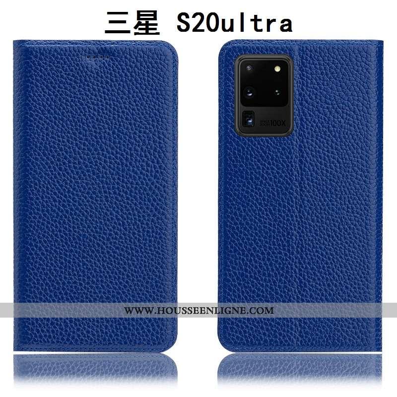Coque Samsung Galaxy S20 Ultra Protection Cuir Véritable Étui Litchi Étoile Housse Bleu